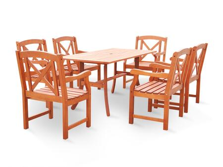 V189SET23 Malibu Eco-friendly 7-Piece Outdoor Hardwood Dining Set with 1x Rectangle Table (V189) and 6x Armchairs