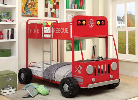 Rescuer II Collection CM-BK1043-BED Twin Size Bunk Bed with Fire Truck Design  Upper Safety Rails  Front Hood Table and Metal Construction in Red and Silver