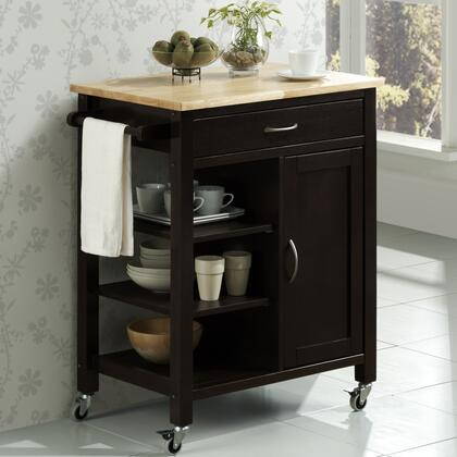 43929 28 inch  Edmonton Kitchen Cart with Natural Wood Top  1 Drawer  1 Framed Door and Large Industrial Casters in