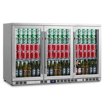 KBU-328-SS 53 inch  3 Glass Door Undercounter Beverage Cooler with x Can Capacity  Chrome Shelves  Heated LOW E-Glass  Lock and Stainless Steel Interior and