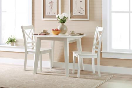Simplicity Collection 652283SET 3 PC Dining Room Set with Round Extendable Dining Table + 2 X-Back Chairs in Paperwhite