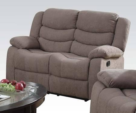 Jacinta Collection 51416 60 inch  Loveseat with Motion Reclining Mechanism  Tight Back Cushion  Tight Seat Cushions and Velvet Upholstery in Light Brown