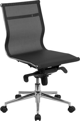 BT-2768M-NA-GG Mid-Back Armless Black Mesh Executive Swivel Office Chair with Synchro-Tilt
