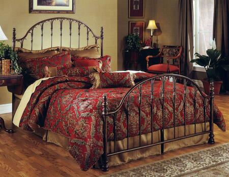 Tyler Collection 1239BKR King Size Bed with Headboard  Footboard  Rails  Open-Frame Arched Panel Design  Small Delicate Posts and Metal Construction in Antique
