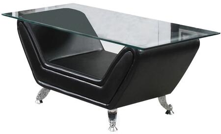 Zahar Collection 80240 47 inch  Coffee Table with 12mm Tempered Clear Glass Top  Metal Legs and Bonded Leather Upholstery in Black