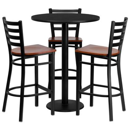 MD-0013-GG 30'' Round Black Laminate Table Set