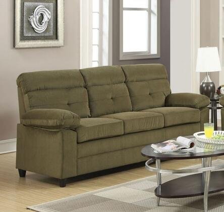 Alicia Collection 51360 81 inch  Sofa with Wood-Like Legs  Wood Frame  Tufted Seat Back  Tight Cushions and Velvet Upholstery in Light Brown and Dark Brown