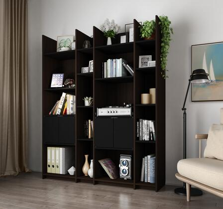 16854-79 Small Space Storage Wall Unit in Dark Chocolate and