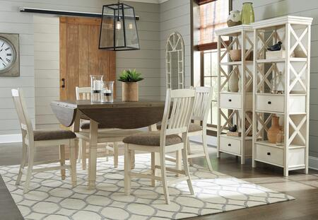 Bolanburg Collection 7-Piece Dining Room Set with Round Counter Table  4 Barstools and 2 Display Cabinets in
