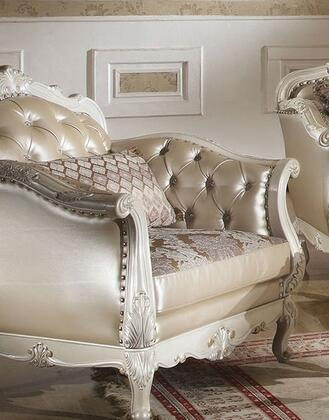 Chantelle Collection 53542 40 inch  Chair with Accent Pillow Included  Scrolled Ornamental Details  Nail Head Trim and Rose Gold Bycast PU Leather Upholstery in