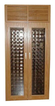 VINO-440TDGFE-RB Two Door Oak Wine Cooler Cabinet with Front Exhaust  Rich