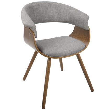 CH-VMO WL+LGY Vintage Mod Mid-Century Modern Chair In Walnut And Light