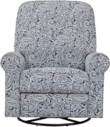 Ashewick DS-911-006-532 Swivel Glider Recliner with Padded Back and Arms  Sinuous Spring Suspension and Paisley Patterned in Indigo
