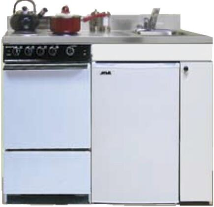 ROE9Y51 51 inch  Compact Kitchen with 4 Electric Coil Burners  Removable Refrigerator  Electric Oven  Backguard  Stainless Steel Countertop  and Sink: