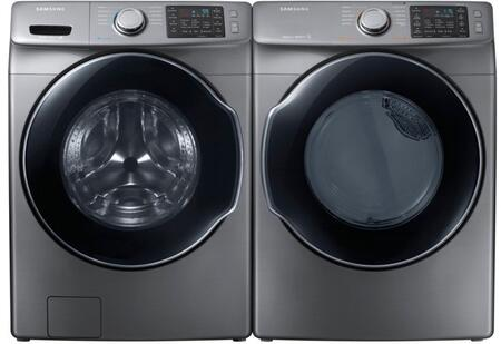 """Platinum Front Load Laundry Pair with WF45M5500AP 27"""""""" Washer  DVG45M5500P 27"""""""" Gas Dryer and 2 WE357A0P"""" 770238"""