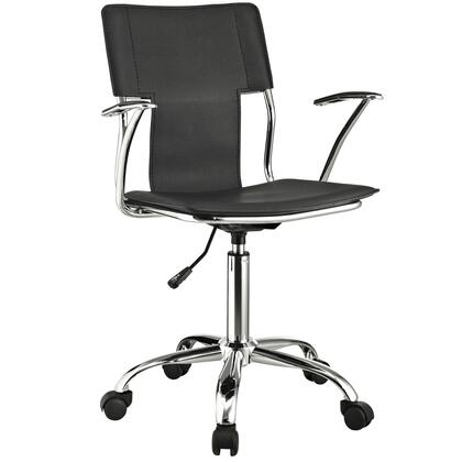 Studio Collection EEI-198-BLK Office Chair with Adjustable Height  Casters  Modern Style  Tension Control Knob  Aerodynamic Arms  Chrome Plated Steel Base and