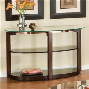 24607 Coronado Sofa Table with Beveled Glass Top and 2 Storage/Display Shelves in