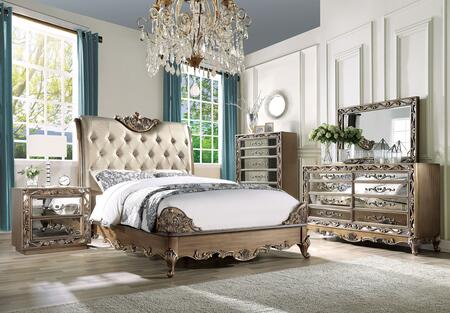 Orianne Collection 23787EKSET 5 PC Bedroom Set with King Size Bed  Dresser  Mirror  Chest and Nightstand in Champagne and Antique Gold