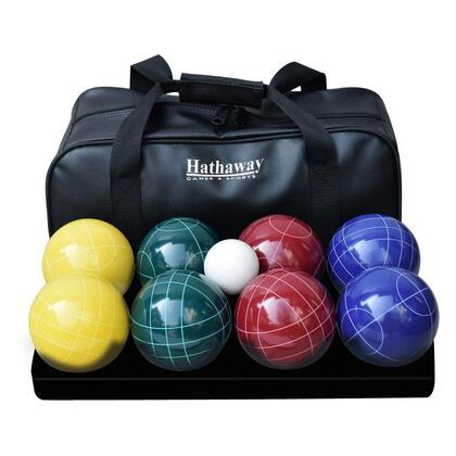 BG3139 Deluxe Bocce Ball Set with Eight Tournament Quality  Etched  One Pillion Ball  A Measuring Tape and Nylon Carrying