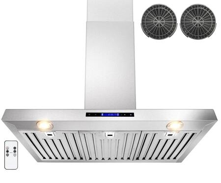 GWRZ136 36 inch  Wall Mounted Range Hood with 760 CFM  65 dB  Innovative Touch  Halogen Lighting  3 Fan Speed  Stainless Steel Baffle Filter  Remote Control and