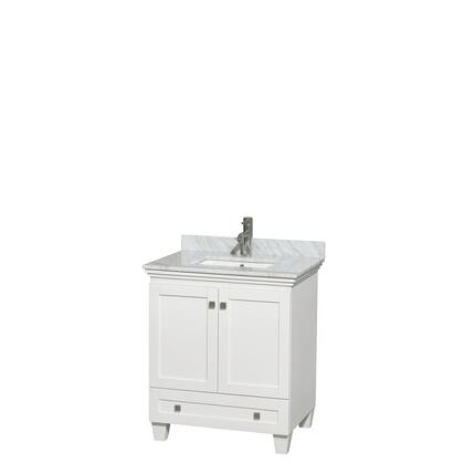 WCV800030SWHCMUNSMXX 30 in. Single Bathroom Vanity in White  White Carrera Marble Countertop  Undermount Square Sink  and No