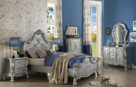 Dresden Collection 30680QSET 6 PC Bedroom Set with Queen Size Bed + Dresser + Mirror + Chest + 2 Nightstands in Silver