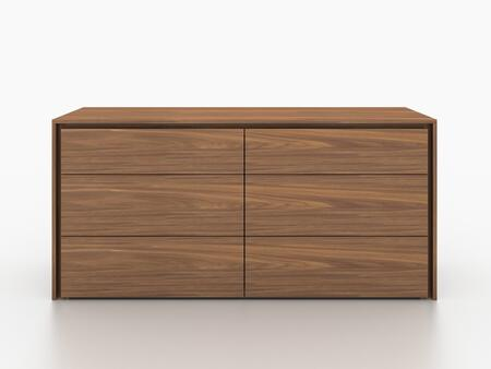 "Zen Collection CB-1104-D-WAL 63"" Dresser with 6 Drawers  Medium-Density Fiberboard (MDF) and Veneer Construction in Walnut"
