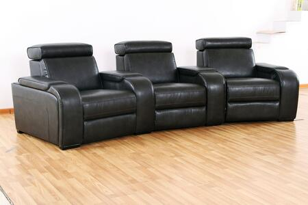 Meadows Collection 3 Seat Power Recline Theater Set with Storage Consoles  Sinuous Seat Spring  Grade Deluxe Foam Cushions  Wood Frame and Leather Air