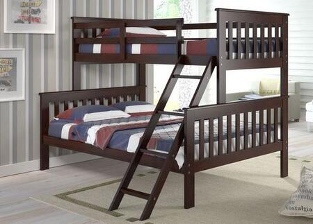 122-2CP Twin Over Full Mission Style Bunk Bed with Built in Ladder  Slat Headboard and Footboard in