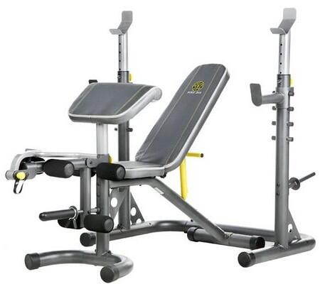 GGBE1486 XRS20 Power Tower with Detachable Multi-Position Bench  6-Roll Leg Developer  Sewn Vinyl Seats  Adjustable Safety Spotters and Curl