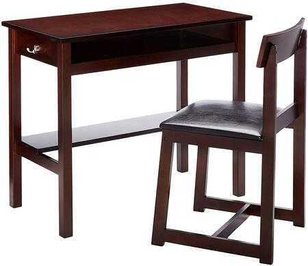 Vester Collection 92044 2 PC Desk and Chair Set with 2 Storage Compartments  Wooden Legs  Black Faux Leather Upholstery and Solid Wood Materials in Espresso