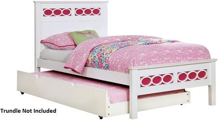Cammi Collection CM7853PK-T-BED Twin Size Bed with Decorative Circular Ring Design  Solid Wood and Wood Veneers Construction in Pink and White