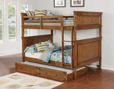 Coronado Collection 460118+300676 Full Size Bunk Bed with Trundle  Molding Details  Vertical Line Panels  Metal Accents  Slat Kit Included  Rubberwood and MDF