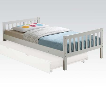 Cutie Collection 37075T Twin Size Bed with Slat System Included  Contemporary Style  Wood Veneer Material and Engineered Wood Construction in White
