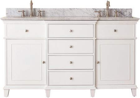 "Windsor Collection WINDSOR-VS60-WT-C 60"" Double Sink Vanity with Carrera White Marble Top  Undermount Sink  2 Soft-Close Doors and 6 Drawers in White"