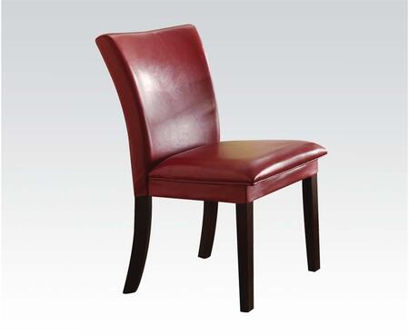 Baldwin Collection 70617 Set of 2 Side Chairs with PU Leather Upholstery and Wood Legs in Red and Walnut