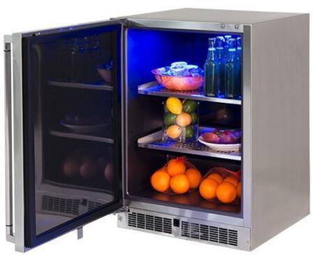 LM24REFL 24 inch  Professional Series Outdoor Refrigerator with 5.3 cu. ft. Capacity  2 Stainless Steel Shelves  Door Lock  Blue LED Lighting and Door Alarm  in