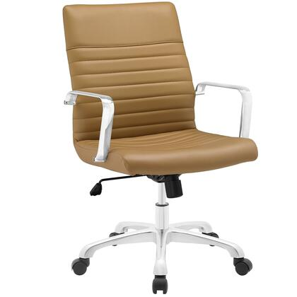 Finesse Collection EEI-1534-TAN Office Chair with 360 Degree Swivel  Mid Backrest  Adjustable Height  Polished Aluminum Frame and Ribbed Vinyl Upholstery in