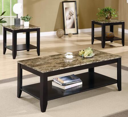 Occasional Table Sets 700155 3 PC Living Room Table Set with 2 End Tables  Coffee Table  Lower Shelf  Tapered Legs and Marble-Like Top in Cappuccino