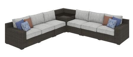 Alta Grande Collection P782-854-846(2)-870 5-Piece Patio Sectional with Left/Right Arm Facing Loveseat  2x Armless Chairs and Corner End Table in Brown and