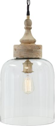 Faiz L000148 Glass Pendant Light with Turned Wood Finial Crowns  Hanging Chain  and a Casual