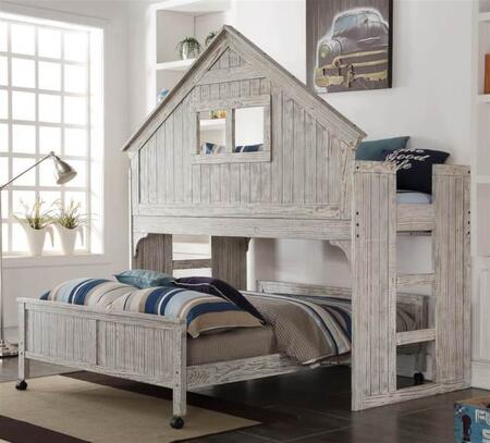 007D-8FD 2-Piece Bed Set with Loft Bed and Bed in Driftwood