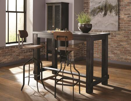 Jacinto Collection 182019SET 3 PC Bar Table Set with Bar Table + 2 Bar Stools in Wire Brush Antique Black