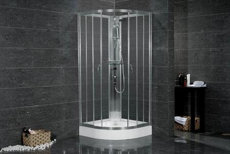 SC708 38 inch  x 38 inch  Shower Cabinet in Chrome Finish  Glass Shelf For Storage  Hand Held Shower