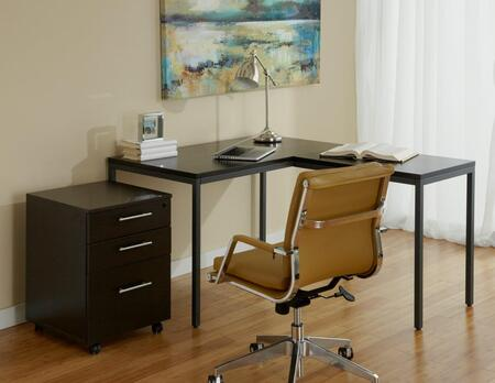 1C100018PES Espresso Parsons L Shaped Desk with Mobile