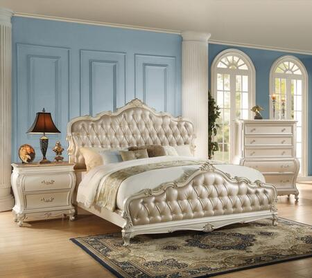 Chantelle Collection 23534CK3SET 3 PC Bedroom Set with California King Size Bed  Chest and Nightstand in Pearl White