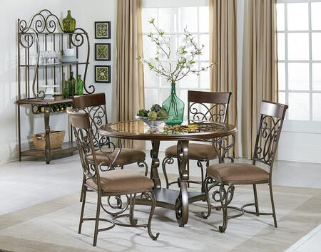 Bombay Collection 13421-4SCBR 6-Piece Dining Room Set with Round Dining Table  4 Side Chairs and Baker's Rack in