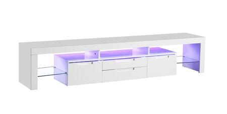 LH-601-W 74 inch  TV Stand with LED Light  Remote Control for Lights  Tempered Glass Shelves and 4 Drawers in Lacquer Finish