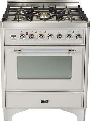 "UM-76-DMP-IX 30"""" Majestic Series Freestanding Dual Fuel Range with 5 Sealed Burners  3.0 cu. ft. Primary Oven Capacity  Convection Oven  Warming Drawer  Chrome"" 175427"