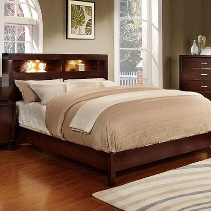Gerico I Collection CM7290CH-CK-BED California King Size Platform Bed with Bookcase Lighting Headboard  Solid Wood and Wood Veneer Construction in Brown Cherry